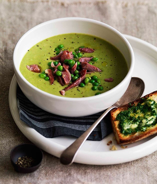 "**[Pea and ham soup](https://www.gourmettraveller.com.au/recipes/browse-all/pea-and-ham-soup-8727|target=""_blank"")**"