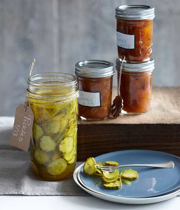 "**[Bread and butter pickles](https://www.gourmettraveller.com.au/recipes/browse-all/bread-and-butter-pickles-14170|target=""_blank"")**"