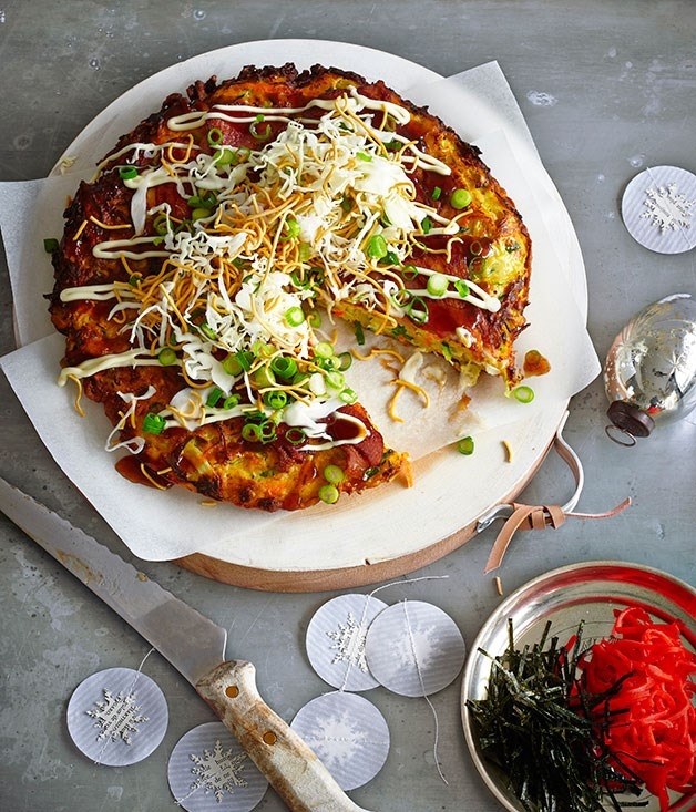 **Okonomiyaki with shredded cabbage, daikon and fried noodles**
