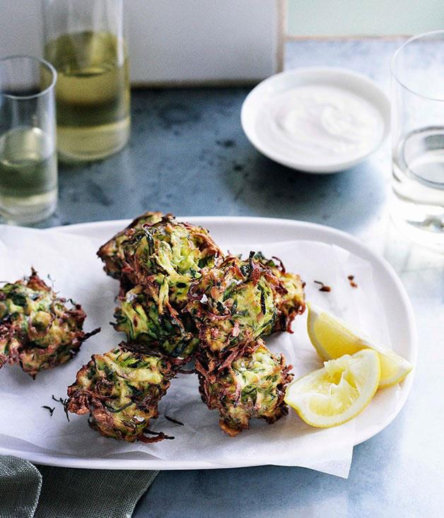 **Zucchini and dill fritters with whipped feta**