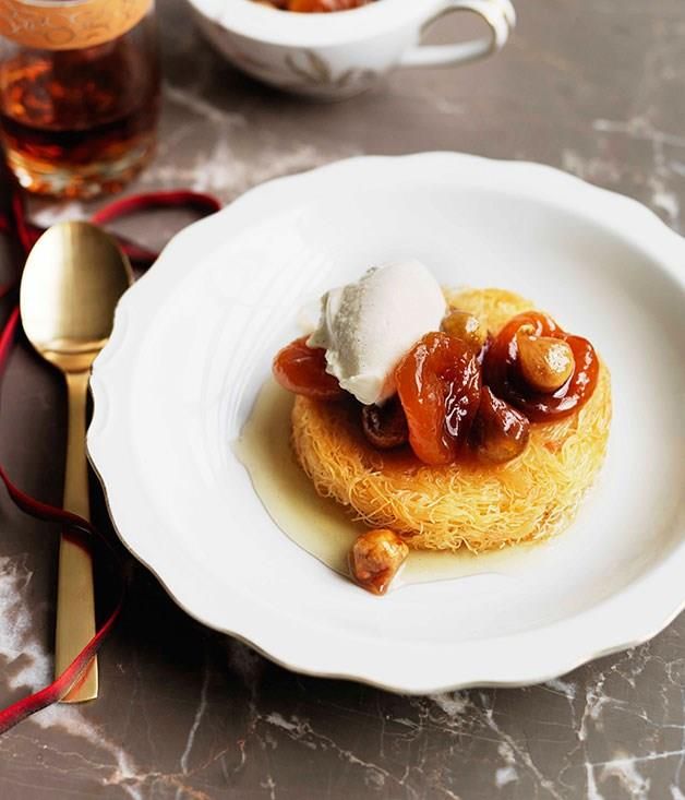 "[**Semolina custard in kataifi with wild figs and Turkish apricots**](https://www.gourmettraveller.com.au/recipes/browse-all/semolina-custard-in-kataifi-with-wild-figs-and-turkish-apricots-11417|target=""_blank"")"