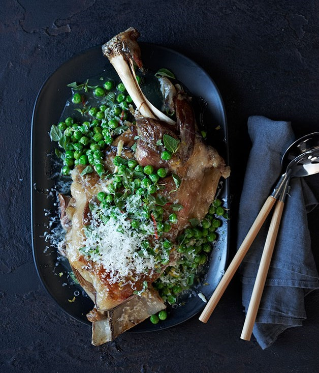 **LAMB SHOULDER BRAISED IN WINE WITH PEAS AND PECORINO**
