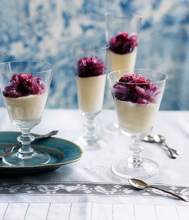 **FROMAGE FRAIS MOUSSE WITH RED WINE GRANITA**