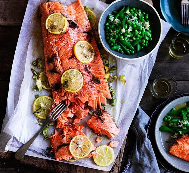 Slow-cooked ocean trout with peas, and meyer lemon and fennel salsa by Danielle Alvarez