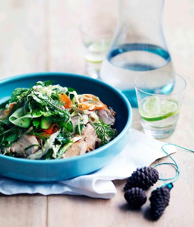 """[Kylie Kwong's red-braised free-range turkey breast with Chinese coleslaw](https://www.gourmettraveller.com.au/recipes/chefs-recipes/kylie-kwong-red-braised-free-range-turkey-breast-with-chinese-coleslaw-7500
