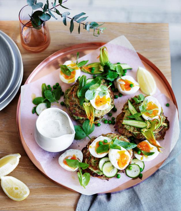 "**[Pea, zucchini and mint fritters with eggs and feta sauce](https://www.gourmettraveller.com.au/recipes/browse-all/pea-zucchini-and-mint-fritters-with-eggs-and-feta-sauce-12462|target=""_blank"")**"