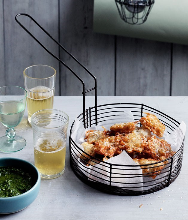 **BABY WHITEBAIT FRITTERS WITH ROSEMARY AND ANCHOVY DIPPING SAUCE**