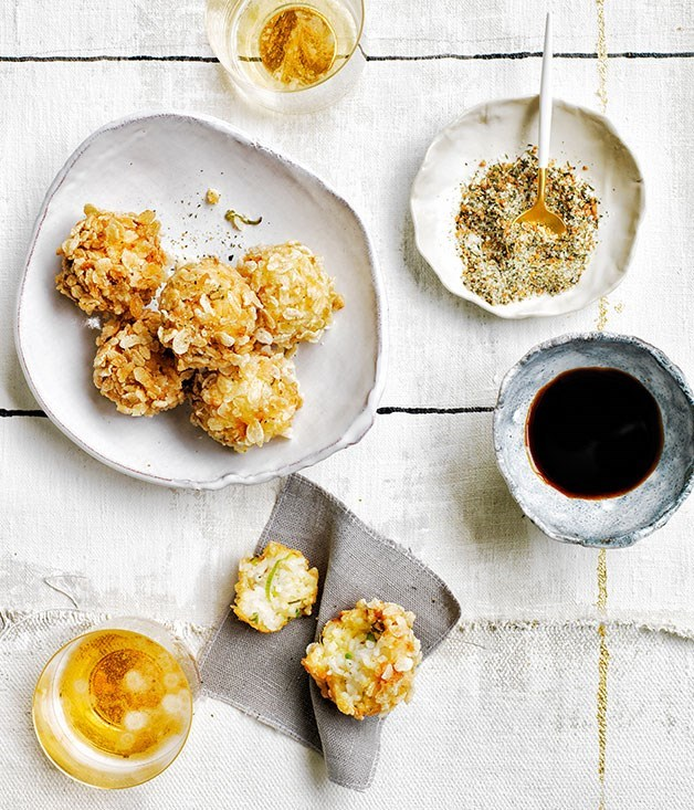 **Rice and crab fritters with genmaicha salt**