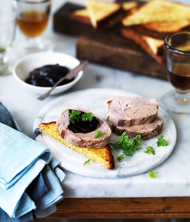 **Duck galantine with foie gras and beetroot jelly**