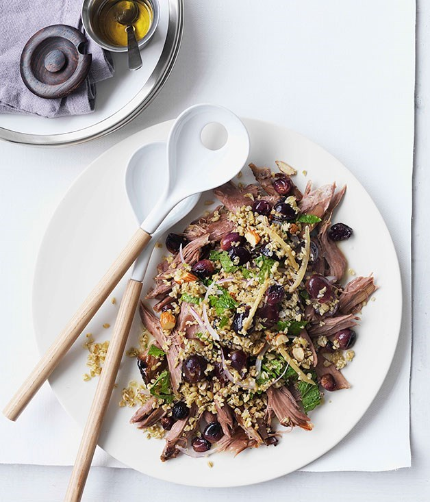 "[**Lamb shoulder with grapes, freekeh and parsley**](https://www.gourmettraveller.com.au/recipes/browse-all/lamb-shoulder-with-grapes-freekah-and-parsley-11093|target=""_blank"")"