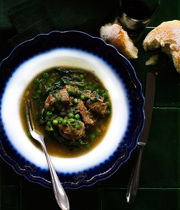 "[**Lamb with anchovies and peas**](https://www.gourmettraveller.com.au/recipes/browse-all/lamb-with-anchovies-and-peas-10148|target=""_blank"")"