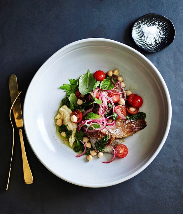 "[**Slow-cooked lamb with hummus, tomato salad and mint salsa**](https://www.gourmettraveller.com.au/recipes/chefs-recipes/slow-cooked-lamb-with-hummus-tomato-salad-and-mint-salsa-8283|target=""_blank"")"
