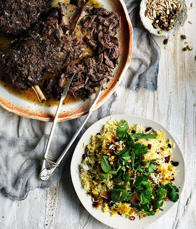 "[**Iranian-style lamb shoulder with cranberry and pistachio spiced rice**](https://www.gourmettraveller.com.au/recipes/browse-all/iranian-style-lamb-shoulder-with-cranberry-and-pistachio-spiced-rice-11756|target=""_blank"")"