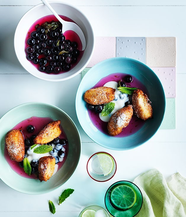 **Hot ricotta fritters, blueberry-lime compote and ricotta cream**