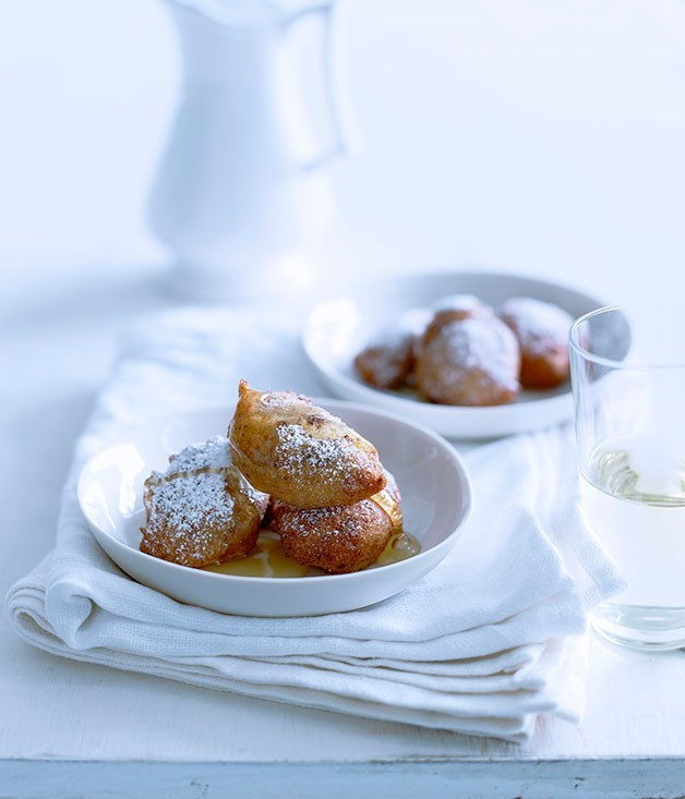 **Orange and chocolate ricotta fritters with honey**