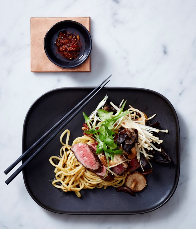Dan Hong's lo mein with beef and mushroom.
