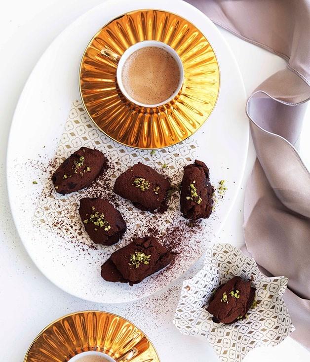 **Chocolate, pistachio and orange-blossom truffles**