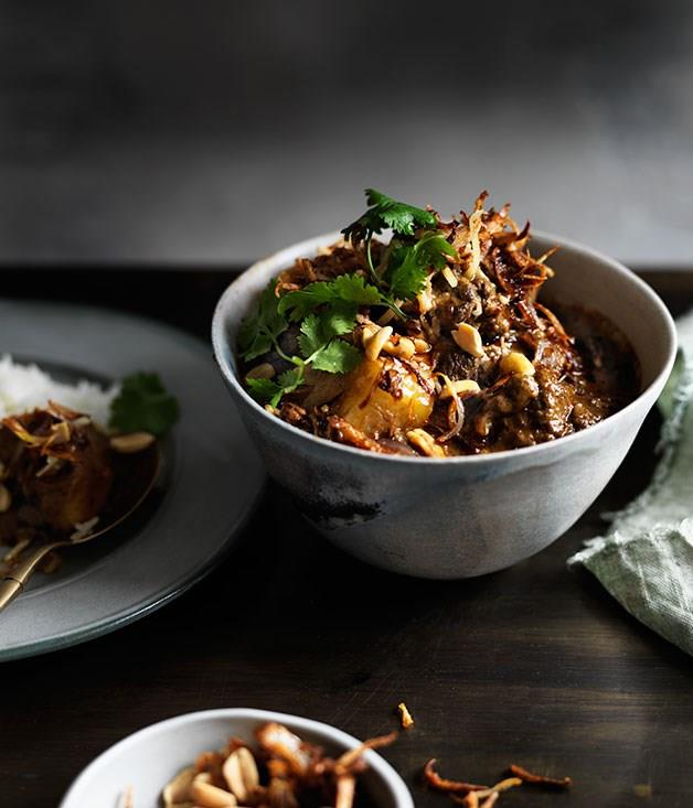 "**B[eef and potato Massaman curry](https://www.gourmettraveller.com.au/recipes/browse-all/beef-and-potato-massaman-curry-12281|target=""_blank"")**"