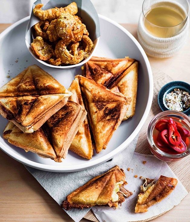 **PORK AND BEAN JAFFLES WITH PICKLED JALAPEÑOS AND SPICED SCRATCHINGS**