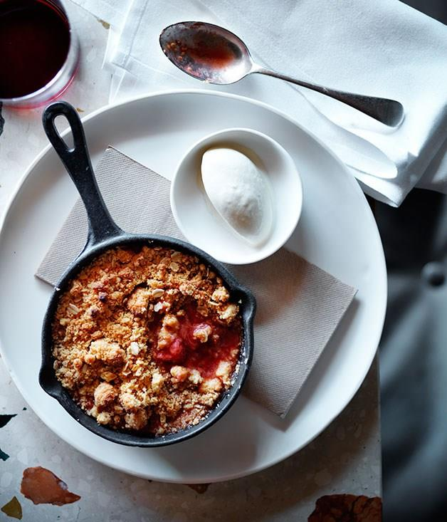 **Rhubarb, strawberry and pink peppercorn crumble with chamomile ice-cream**