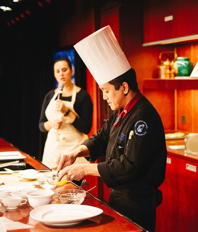 **Cooking demonstration in the Noordam's Culinary Arts Centre**