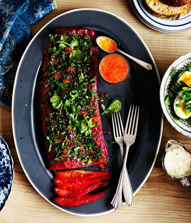"""[**Beetroot-cured ocean trout with buttermilk and soft herbs**](https://www.gourmettraveller.com.au/recipes/browse-all/beetroot-cured-ocean-trout-with-buttermilk-and-soft-herbs-11959