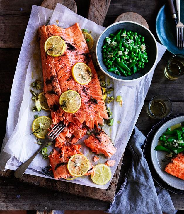 """[**Danielle Alvarez's slow-cooked ocean trout with peas, and Meyer lemon and fennel salsa**](https://www.gourmettraveller.com.au/recipes/chefs-recipes/slow-cooked-ocean-trout-with-peas-and-meyer-lemon-and-fennel-salsa-8349