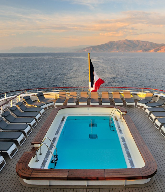 **Ponant** The pool on French cruising line Ponant's _Le Lyrial,_ en route from Croatia to Greece.  Photography by David de Vleeschauwer.