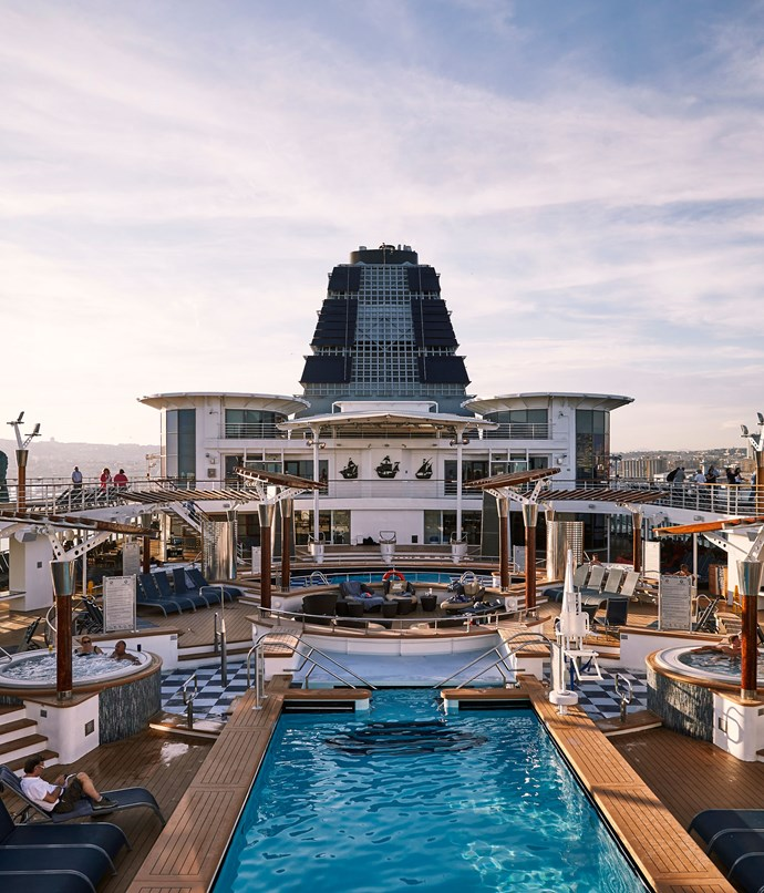 **Celebrity Cruises** Pool deck of Celebrity Cruises' Celebrity Constellation.  Photography by Nassima Rothacker.