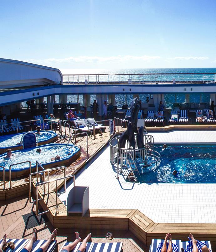**P & O Cruises** Pacific Eden Cruise Ship's onboard pool & deck.