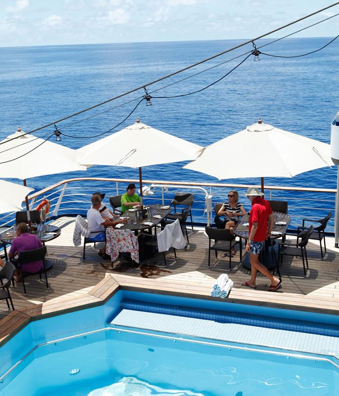 **Lunch by the pool on Silver Discoverer**