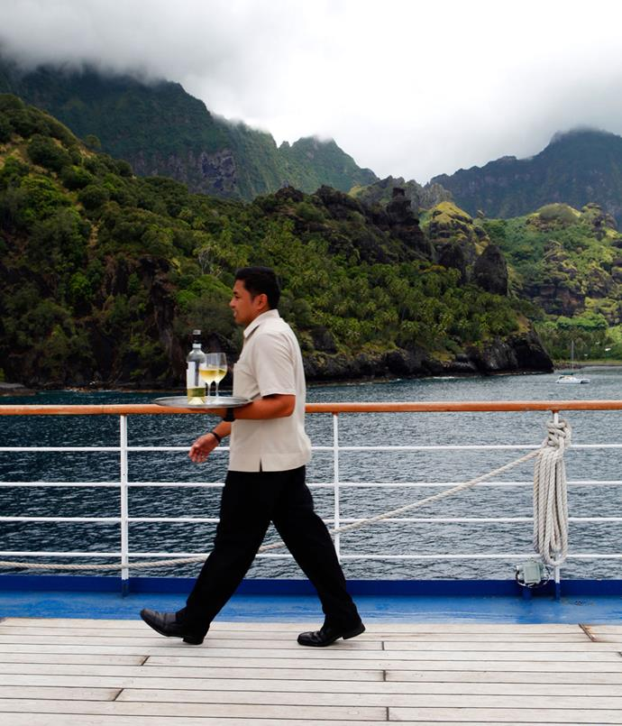 **Service on board Silver Discoverer while anchored off Fatu Hiva**