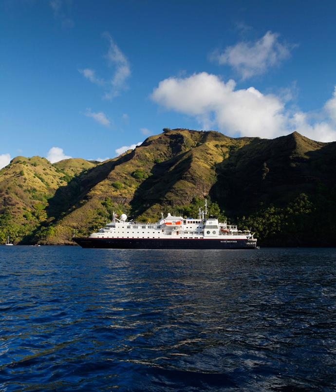 **Silver Discoverer anchored off Fatu Hiva, the southernmost of the Marquesas Islands**