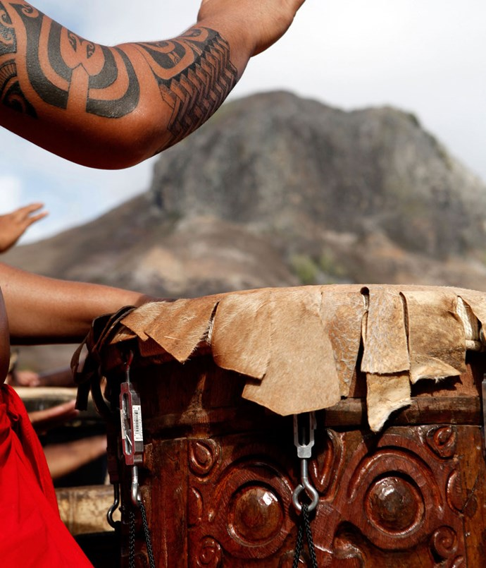 **Drummer in a welcome ceremony at the Marquesan island of Ua Pou**