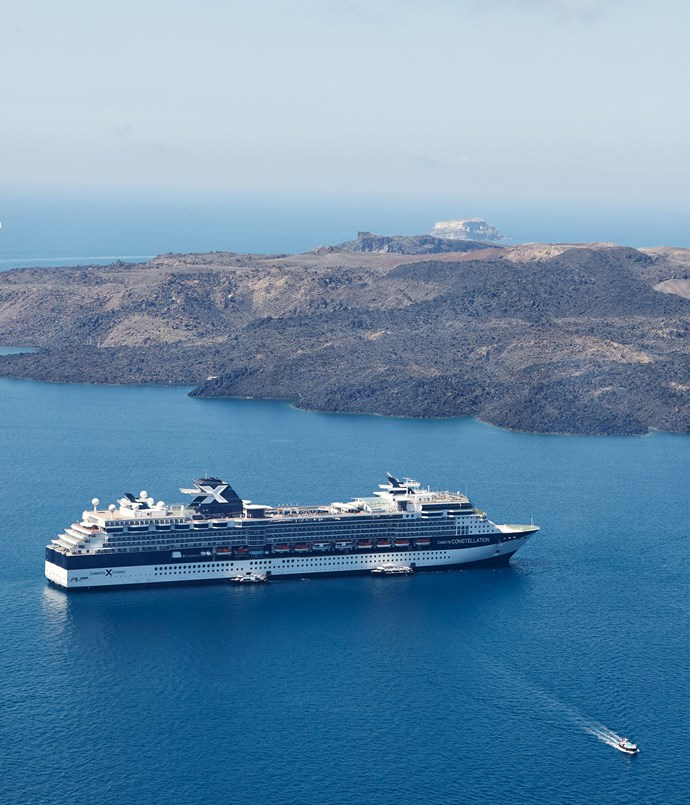 **Celebrity Constellation viewed from Santorini**