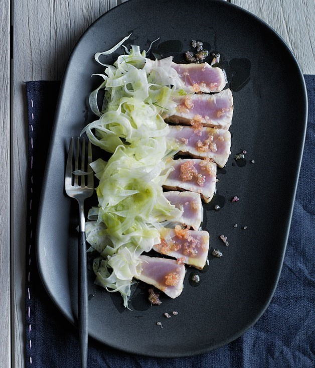 "[**Grilled kingfish belly, fennel and grilled finger lime**](https://www.gourmettraveller.com.au/recipes/chefs-recipes/grilled-kingfish-belly-fennel-and-grilled-finger-lime-8194|target=""_blank"")"