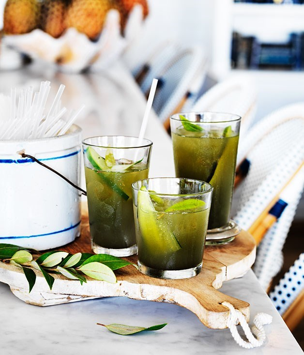 "[**Grilled cucumber and lemon myrtle soda**](https://www.gourmettraveller.com.au/recipes/chefs-recipes/grilled-cucumber-and-lemon-myrtle-soda-8395|target=""_blank"")"
