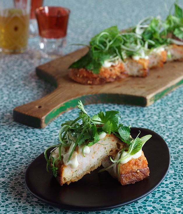 **Prawn toast with yuzu mayonnaise, coriander and mint**