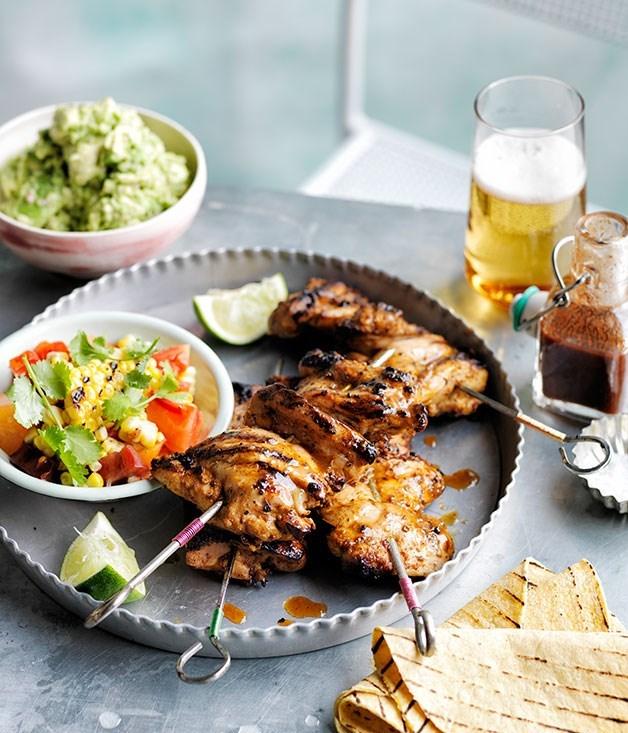 **Smoky chilli chicken with barbecued corn, crushed avocado and soft tacos**