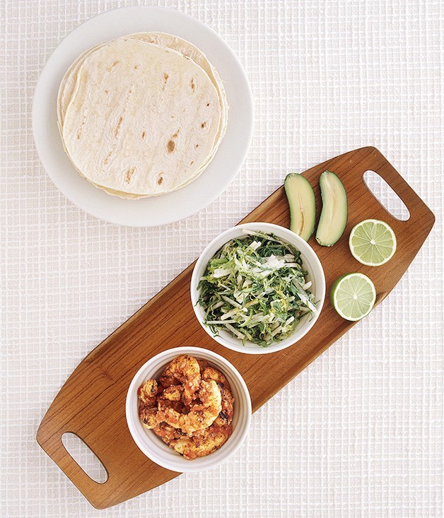 **Prawn tacos with jicama slaw**