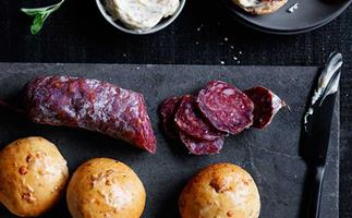 Salami and fennel seed mini buns with whipped anchovy butter