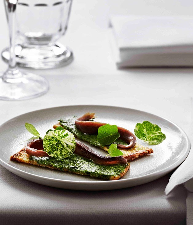 **Ortiz anchovy and nasturtium sandwich, montpellier butter**