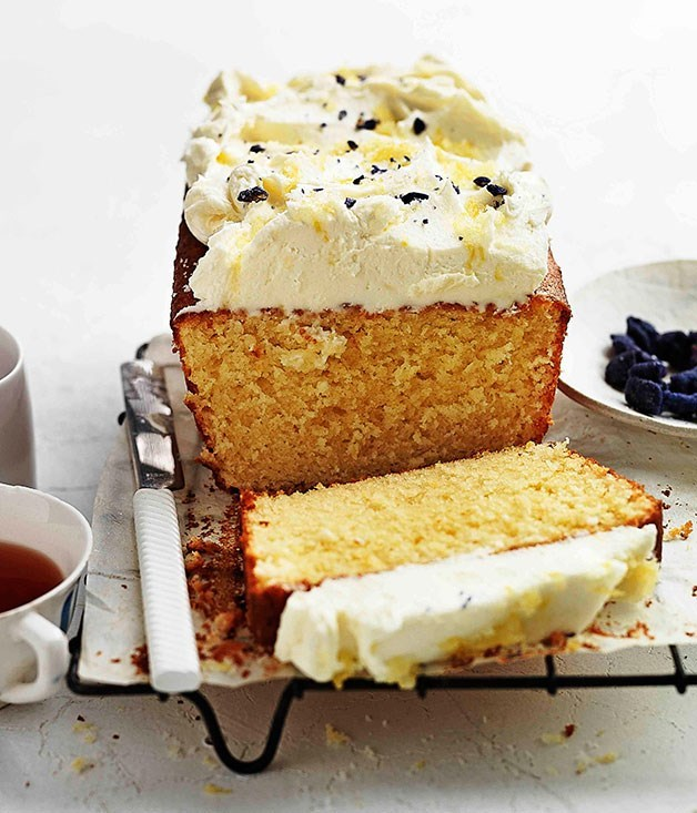**Lemon pound cake with crème fraîche and violets**