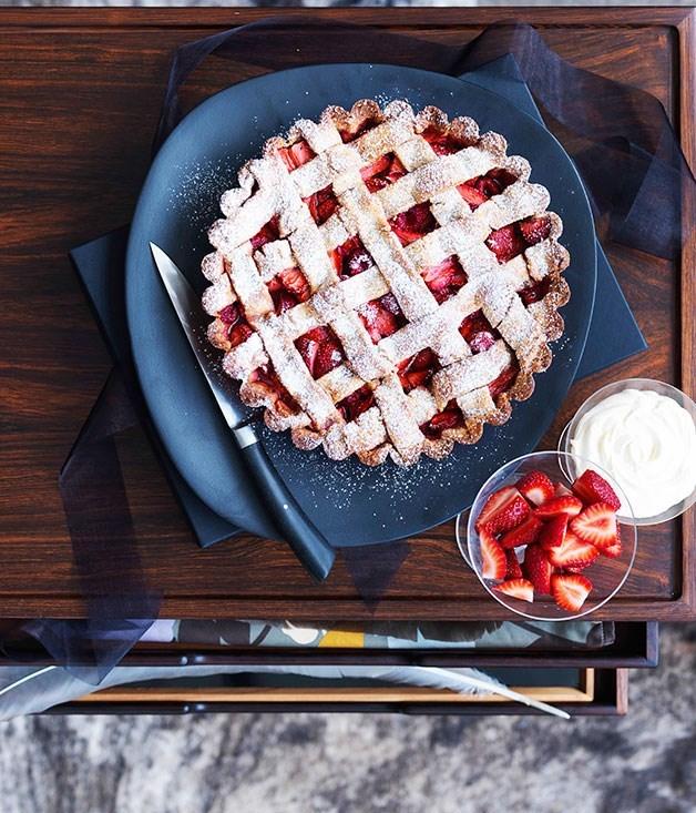 **Strawberry and rose hazelnut tart**