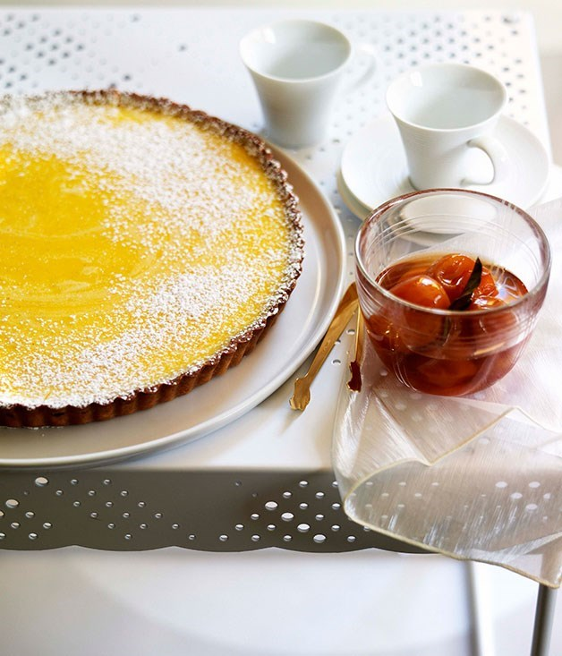 **GIN and lime tart with confit cumquats**