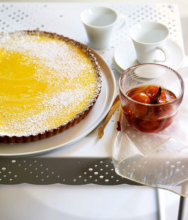 """[**Gin and lime tart with confit cumquats**](https://www.gourmettraveller.com.au/recipes/chefs-recipes/gin-and-lime-tart-with-confit-cumquats-7228