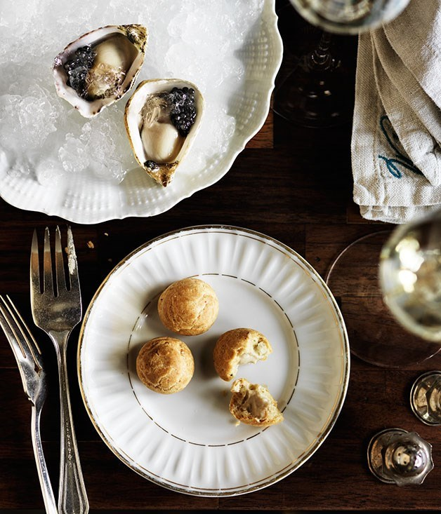"[**Oysters with Champagne and caviar**](https://www.gourmettraveller.com.au/recipes/chefs-recipes/oysters-with-champagne-and-caviar-8314|target=""_blank"")"