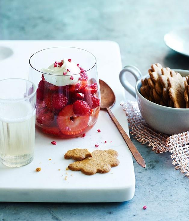 """[**Strawberries in Champagne with crème chantilly**](https://www.gourmettraveller.com.au/recipes/fast-recipes/strawberries-in-champagne-with-creme-chantilly-13520