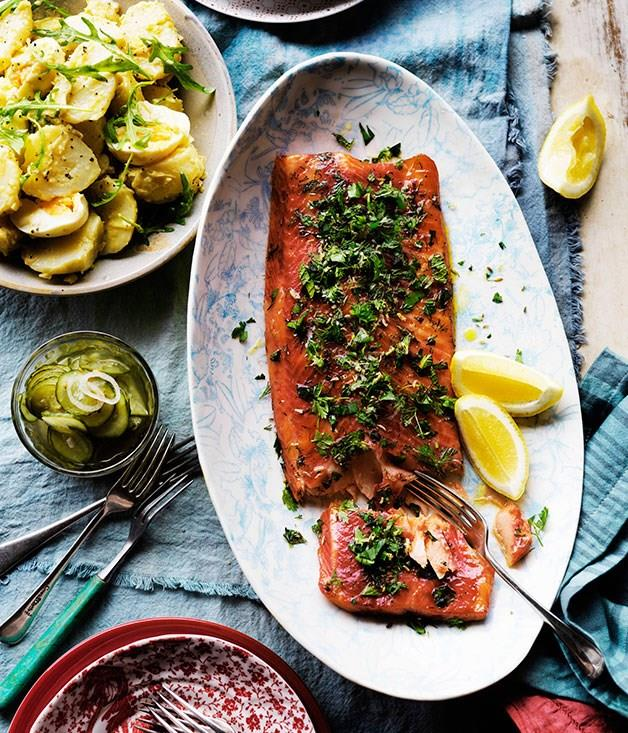 """[**Gin-cured ocean trout with herb crust**](https://www.gourmettraveller.com.au/recipes/browse-all/gin-cured-ocean-trout-with-herb-crust-10898