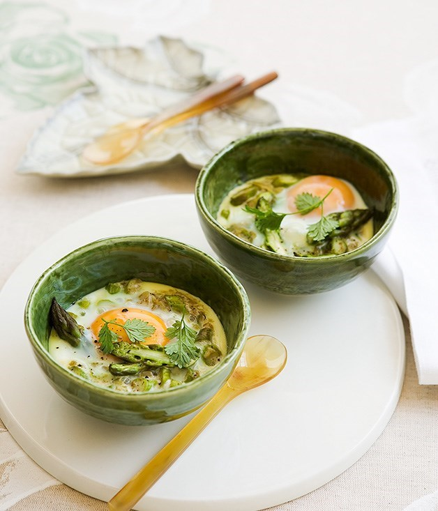 **Asparagus, anchovy and eggs en cocotte**